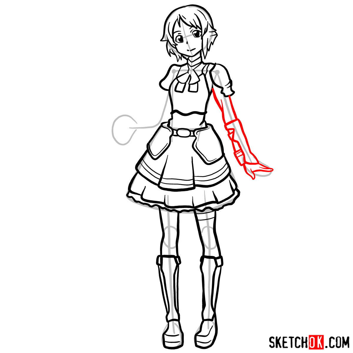How to draw Lisbeth from Sword Art Online - step 13