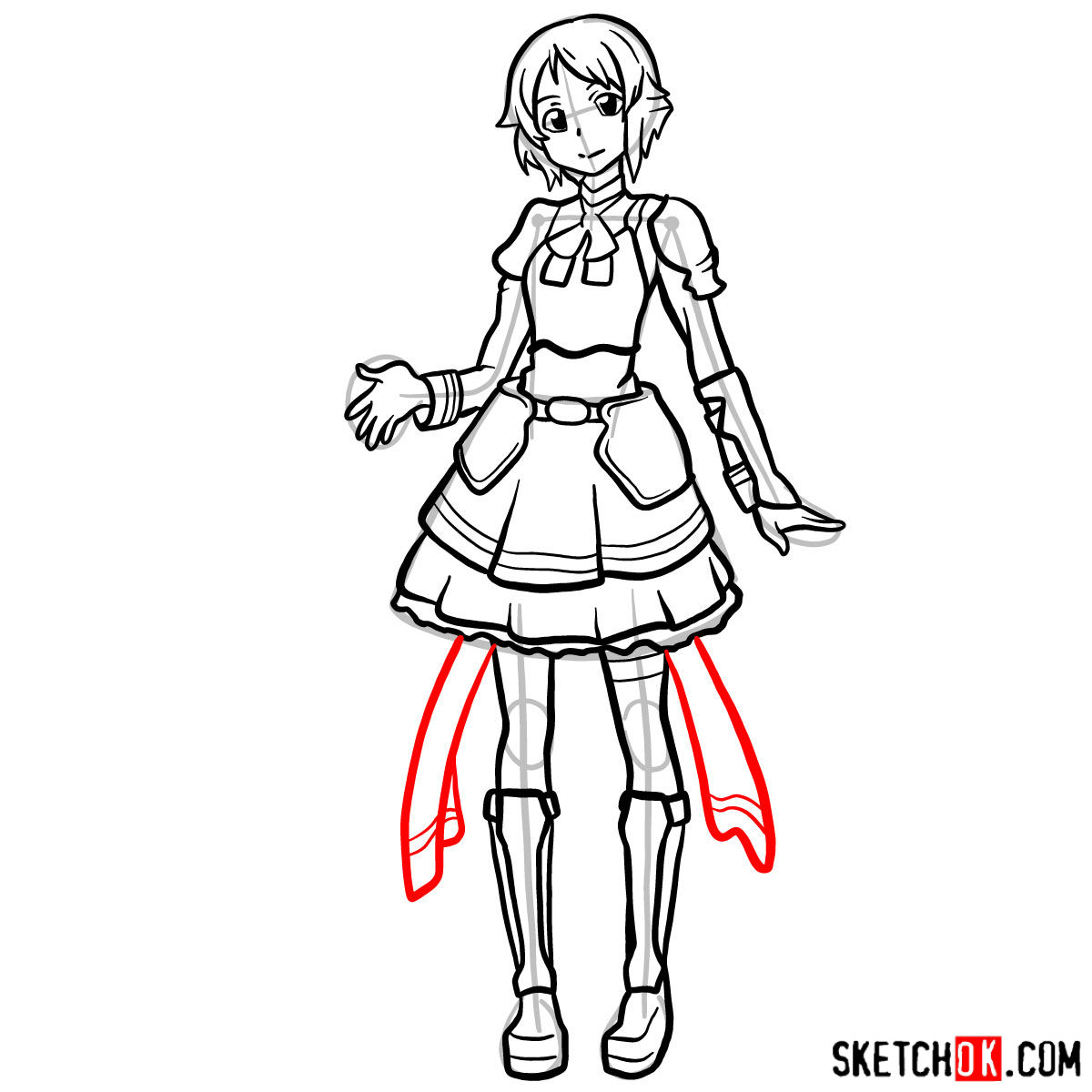 How to draw Lisbeth from Sword Art Online - step 15