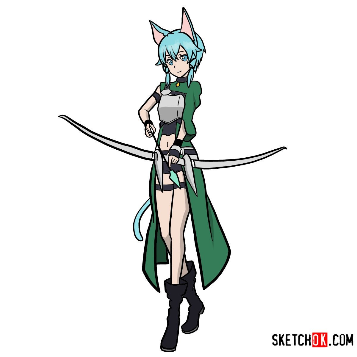 How to draw Sinon full growth | Sword art Online - coloring