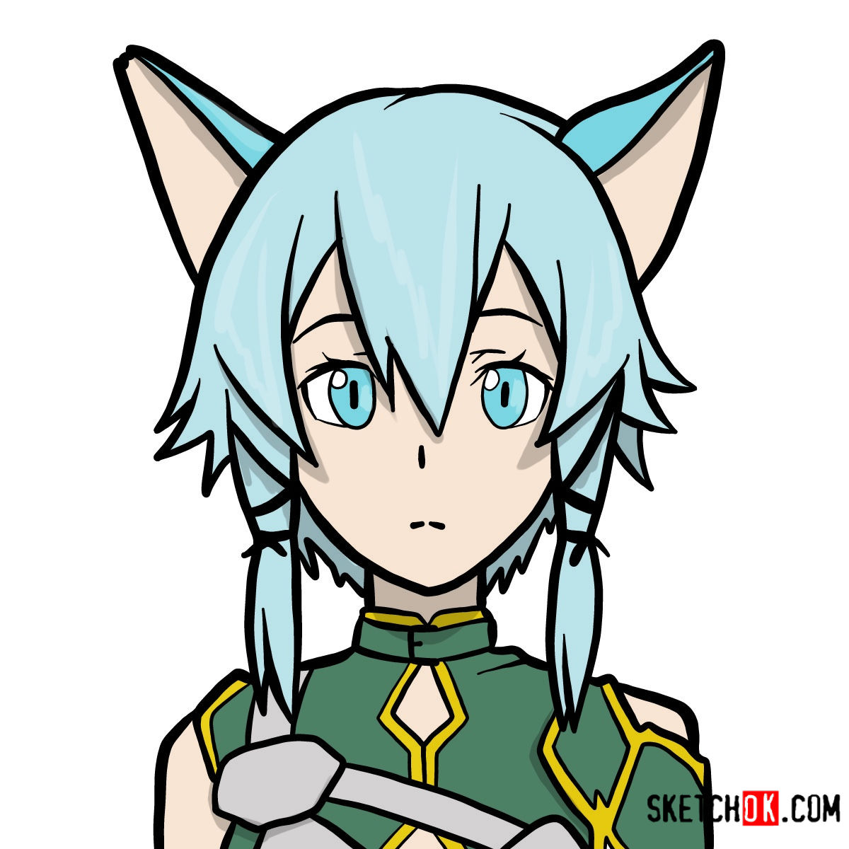 How to draw Sinon's face | Sword art Online