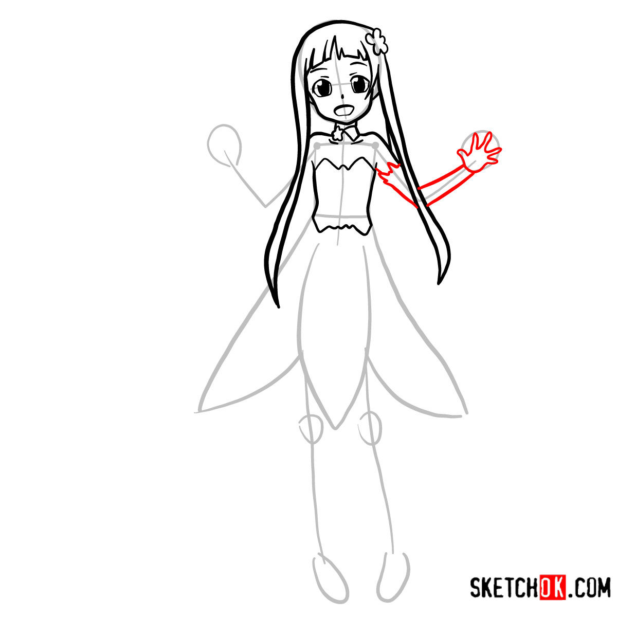 How to draw Yui | Sword art Online - step 07