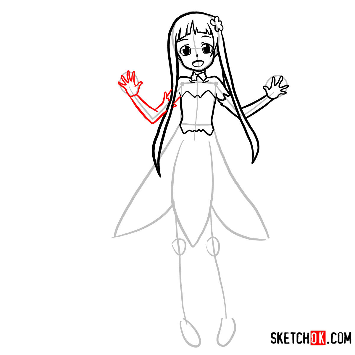 How to draw Yui | Sword art Online - step 08