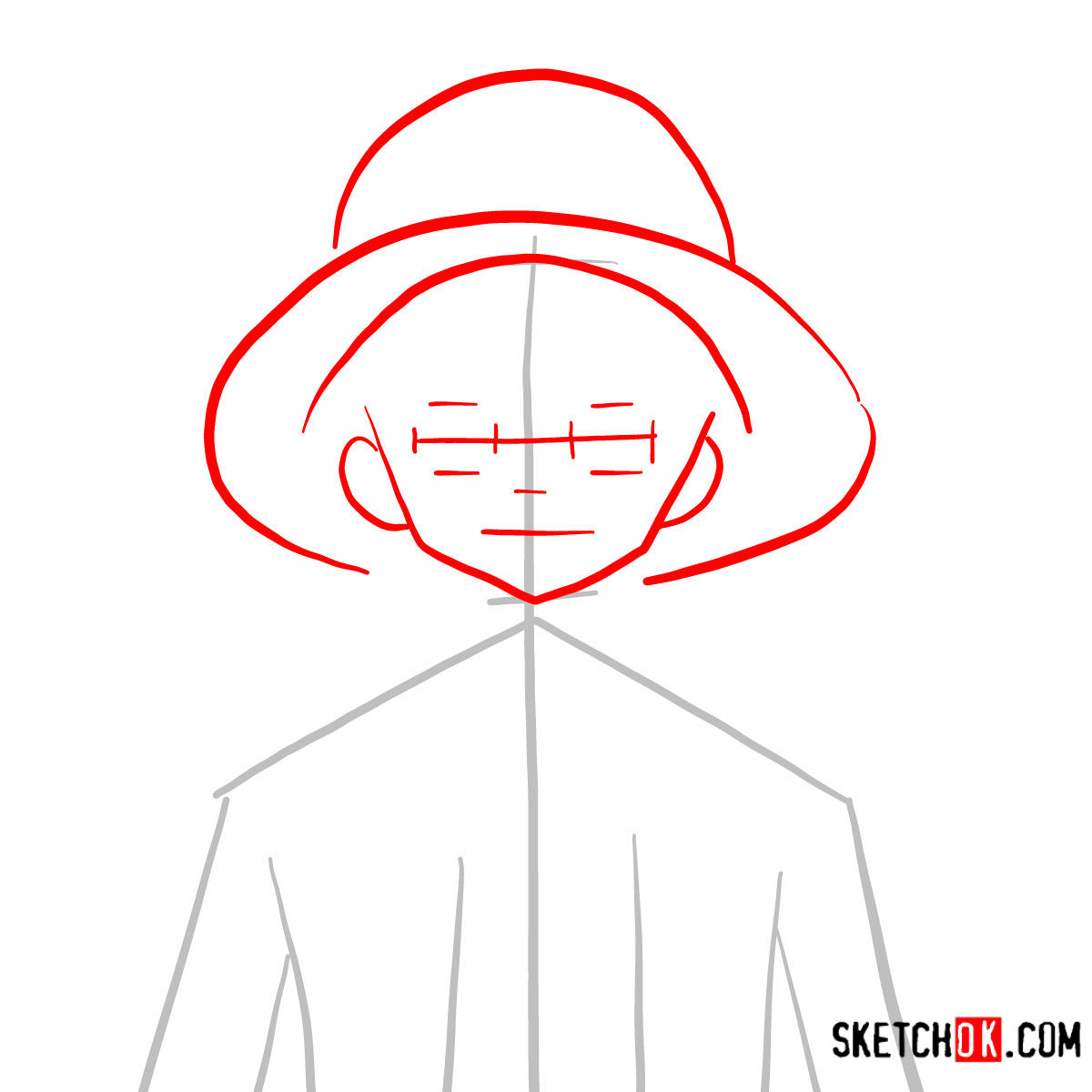 How to draw Monkey D. Luffy face | One Piece - step 02