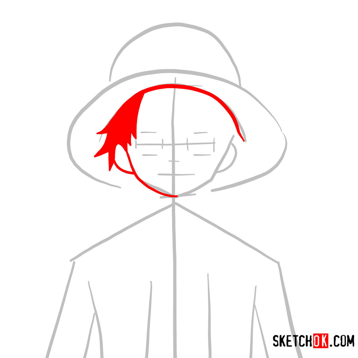 How to draw Monkey D. Luffy face | One Piece - step 03