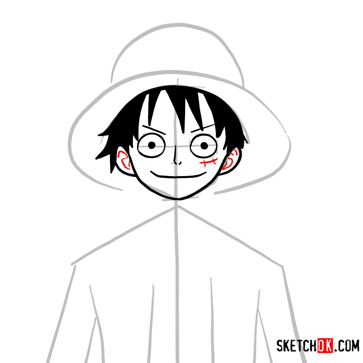 How to draw Monkey D. Luffy face | One Piece - step 06