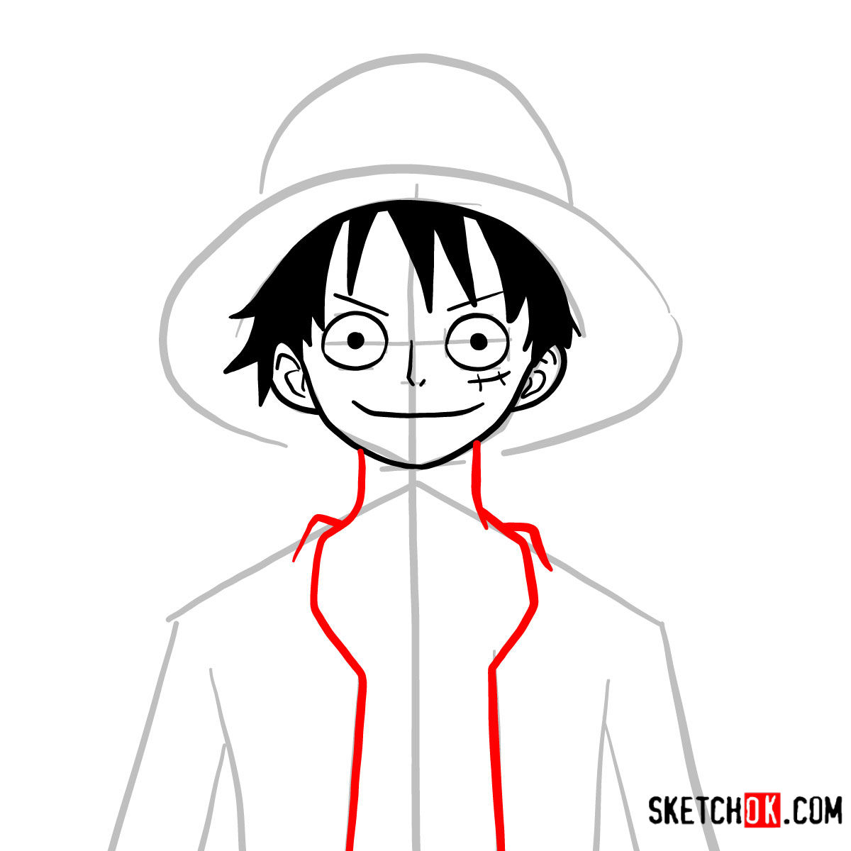 How to draw Monkey D. Luffy face | One Piece - step 07