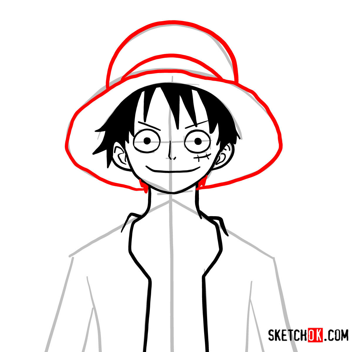 How to draw Monkey D. Luffy face | One Piece - step 08