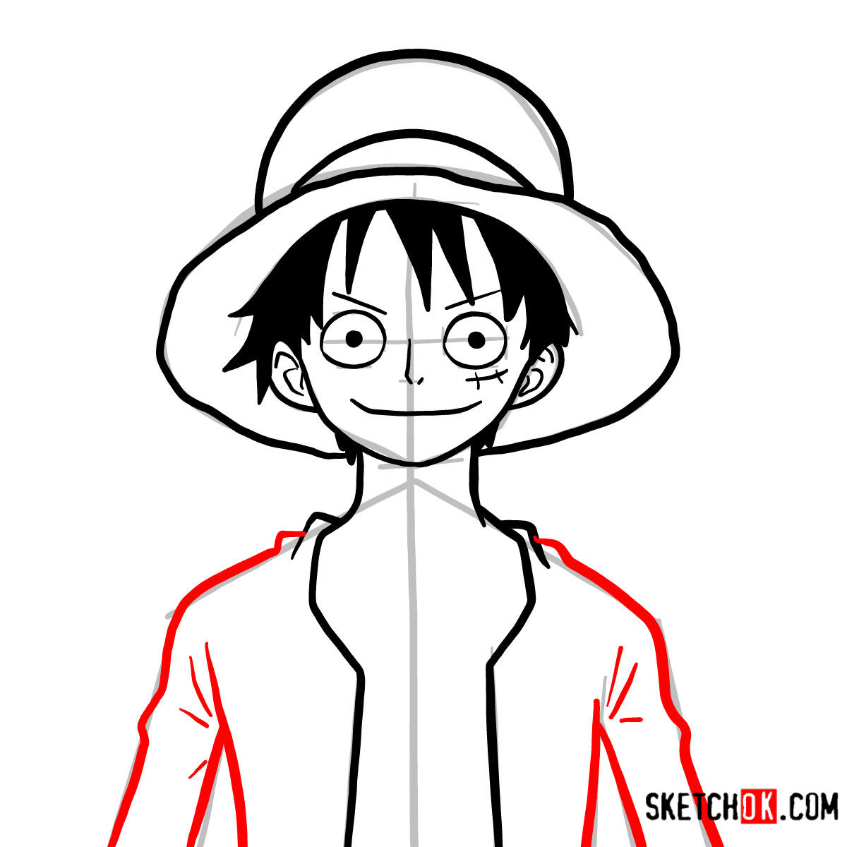 How to draw Monkey D. Luffy face | One Piece - step 09