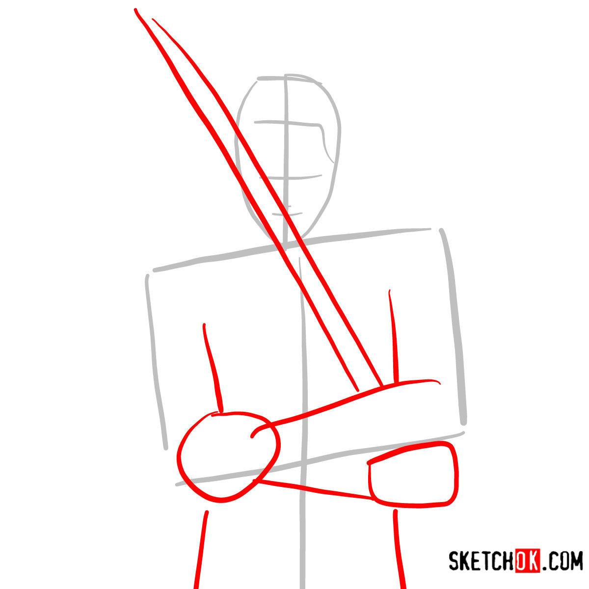 How to draw Roronoa Zoro with swords | One Piece - step 02