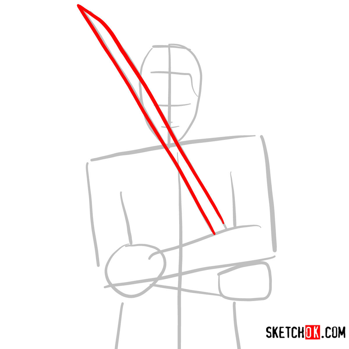 How to draw Roronoa Zoro with swords | One Piece - step 03