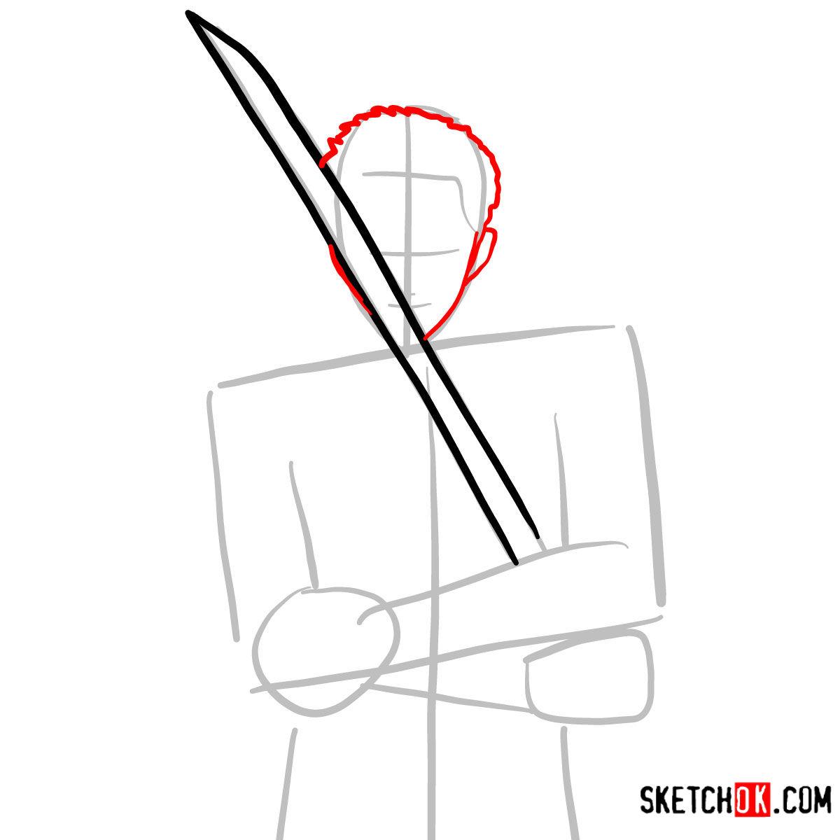 How to draw Roronoa Zoro with swords | One Piece - step 04