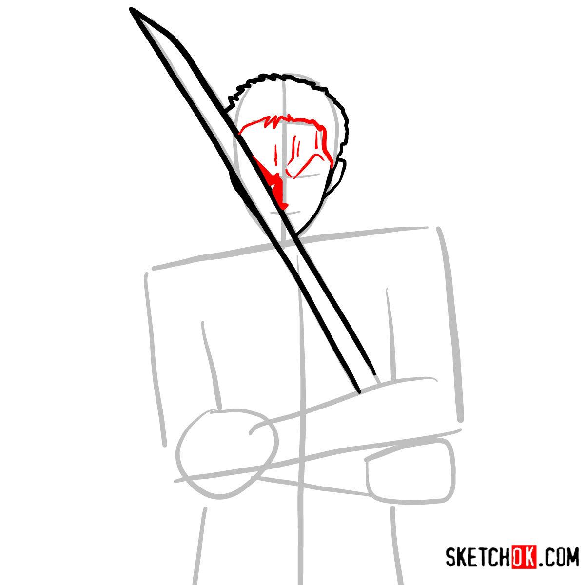 How to draw Roronoa Zoro with swords | One Piece - step 05