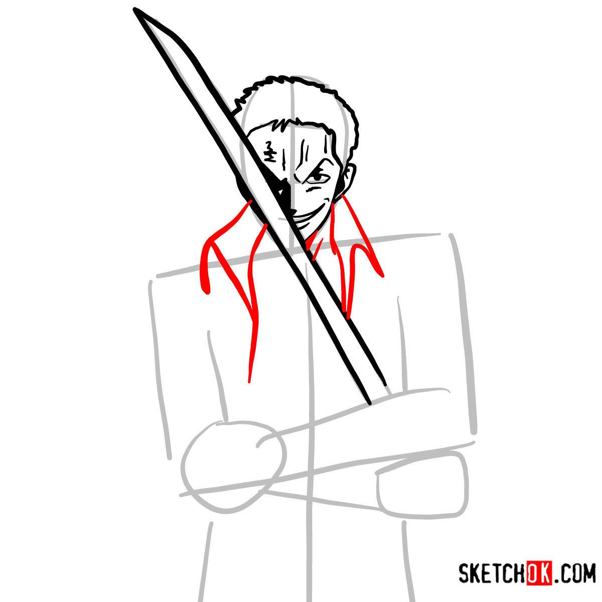 How to draw Roronoa Zoro with swords | One Piece - step 07