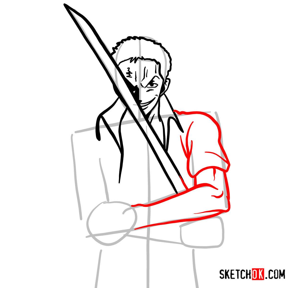 How to draw Roronoa Zoro with swords | One Piece - step 08