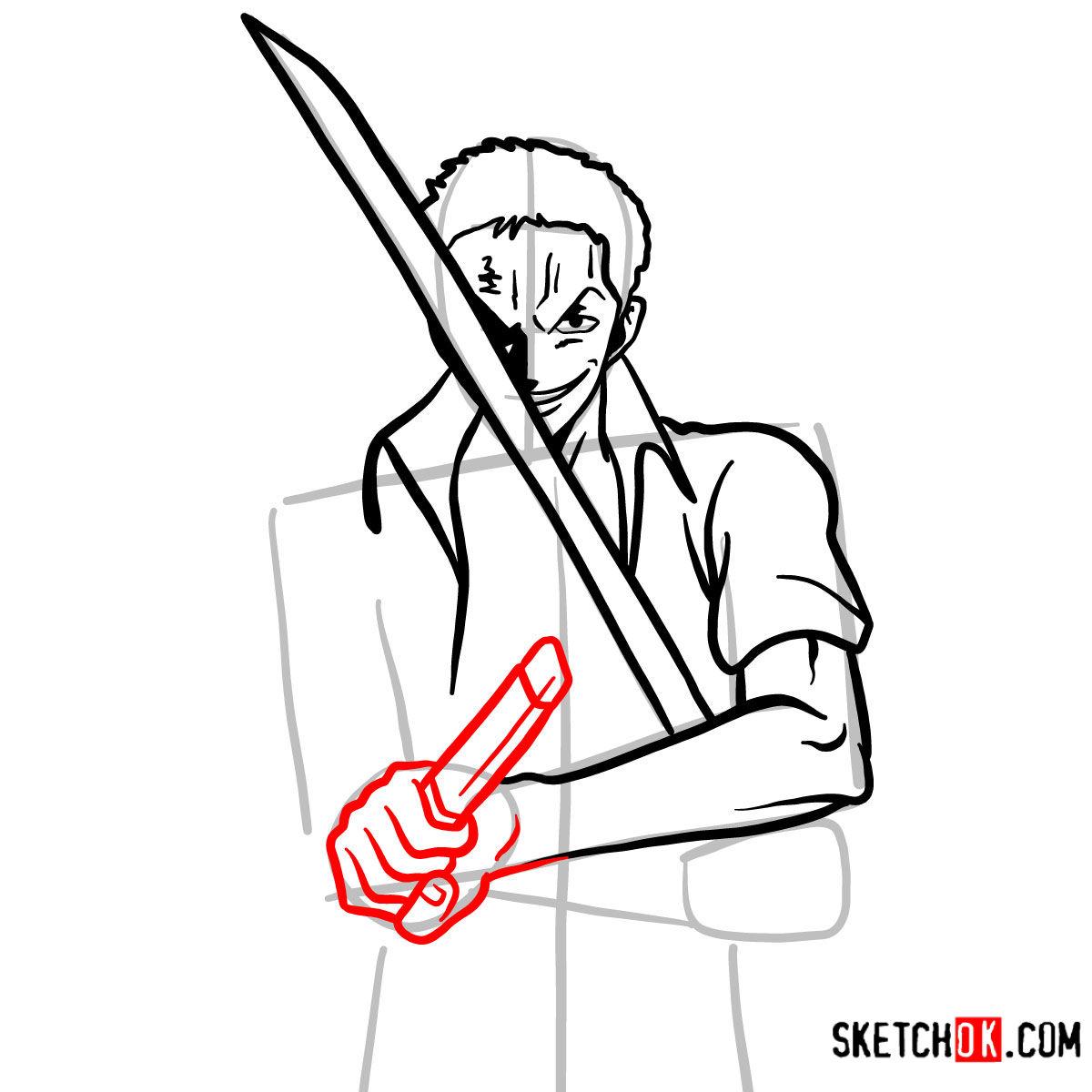 How to draw Roronoa Zoro with swords | One Piece - step 09
