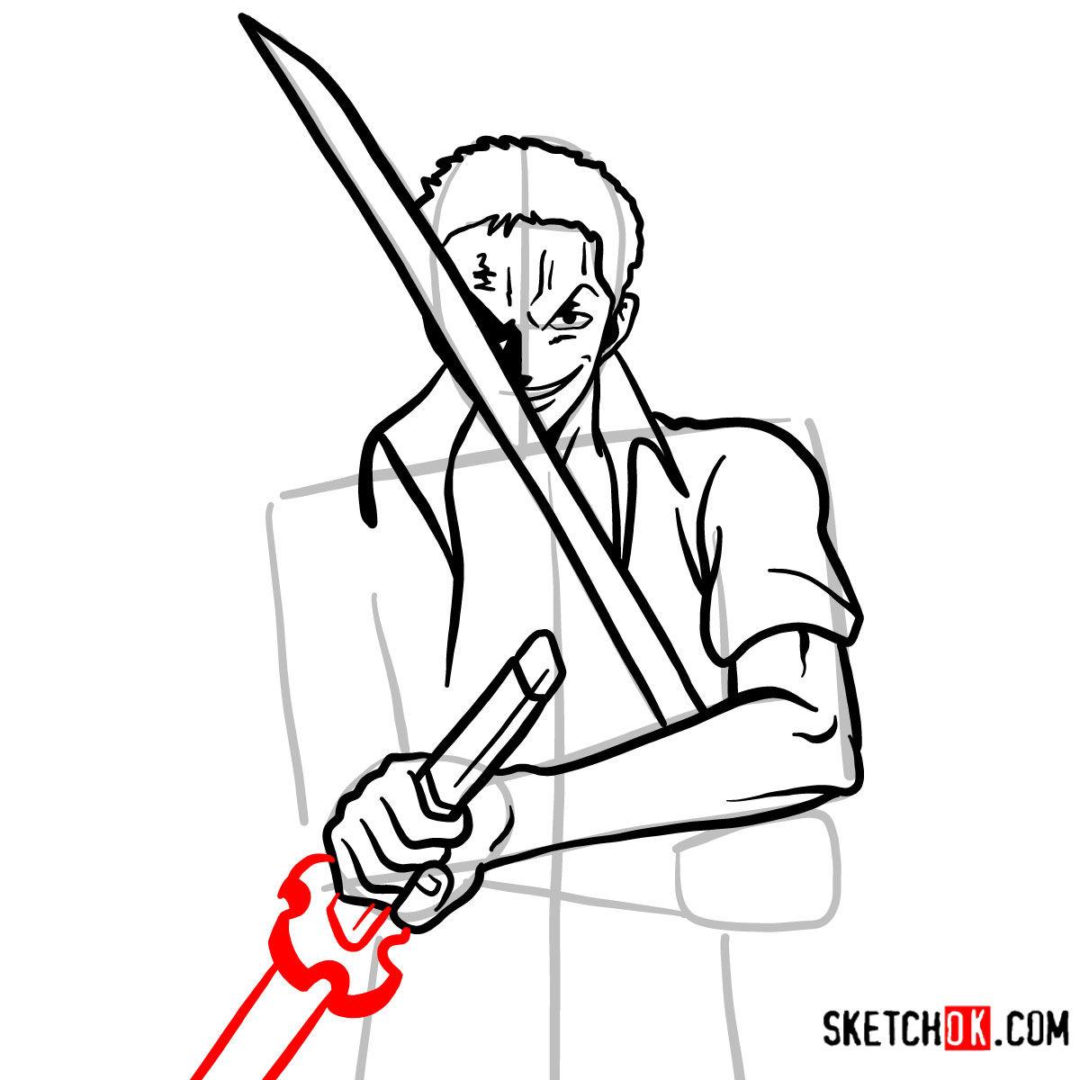 How to draw Roronoa Zoro with swords | One Piece - step 10