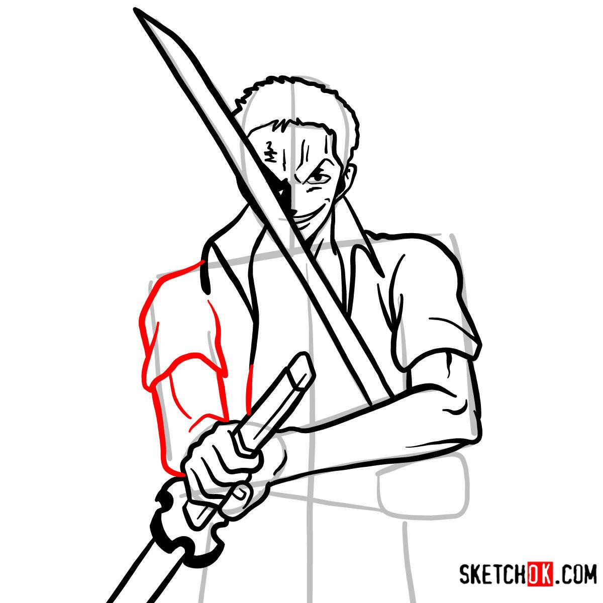 How to draw Roronoa Zoro with swords | One Piece - step 11