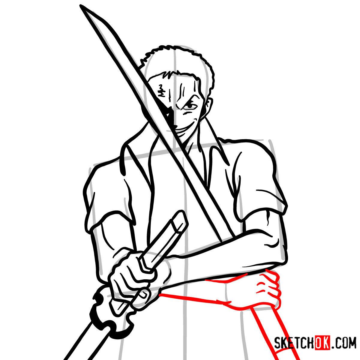 How to draw Roronoa Zoro with swords | One Piece - step 12