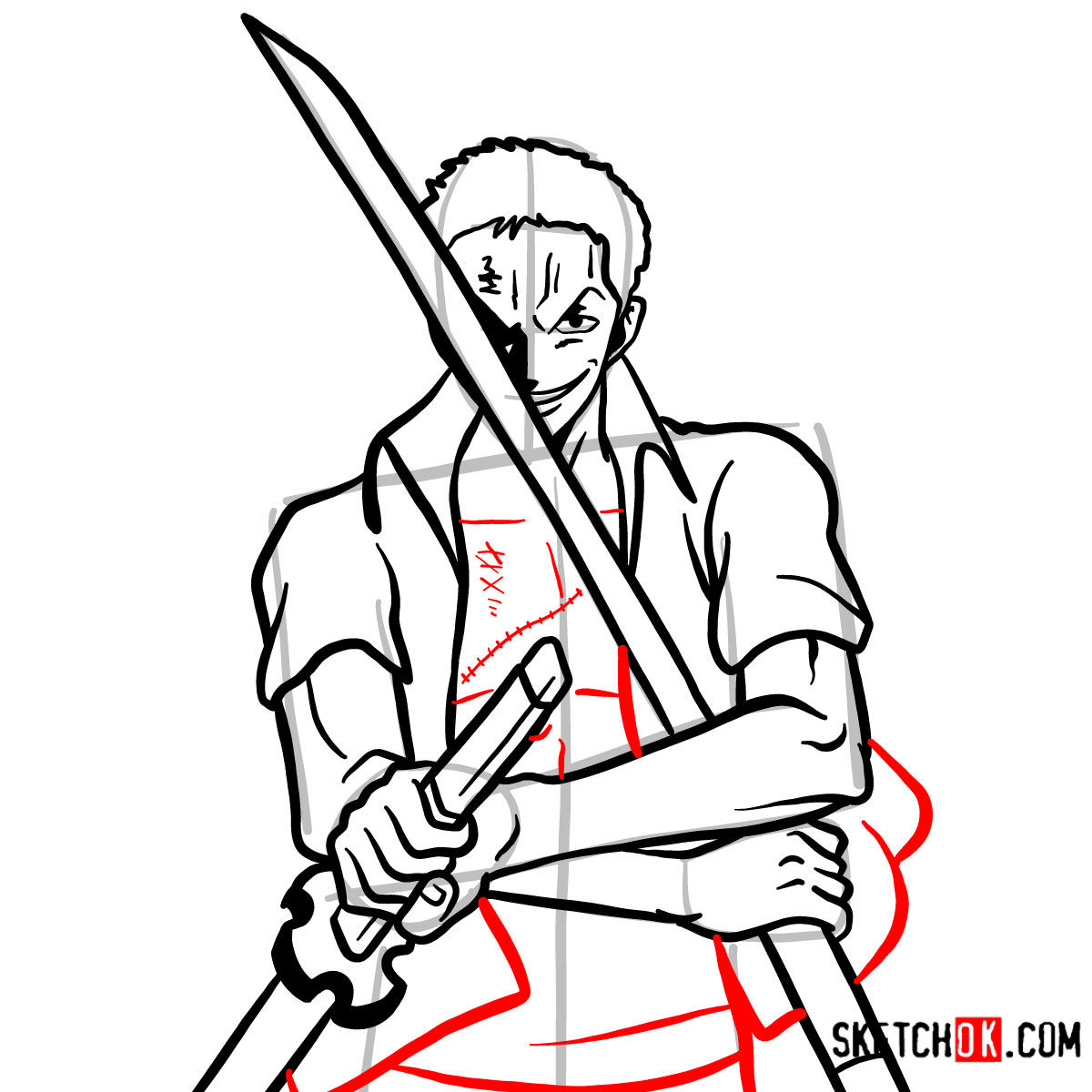 How to draw Roronoa Zoro with swords | One Piece - step 13