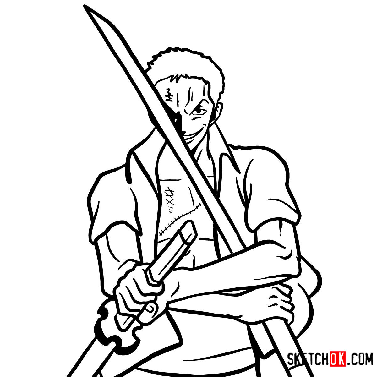 How to draw Roronoa Zoro with swords