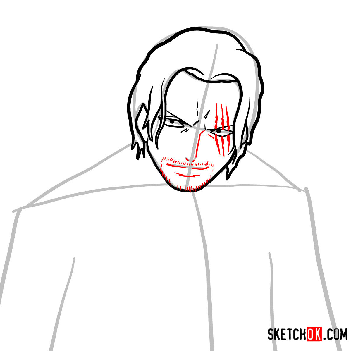 How to draw Shanks | One Piece - step 06