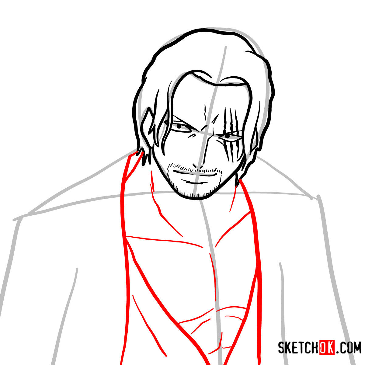 How to draw Shanks | One Piece - step 07