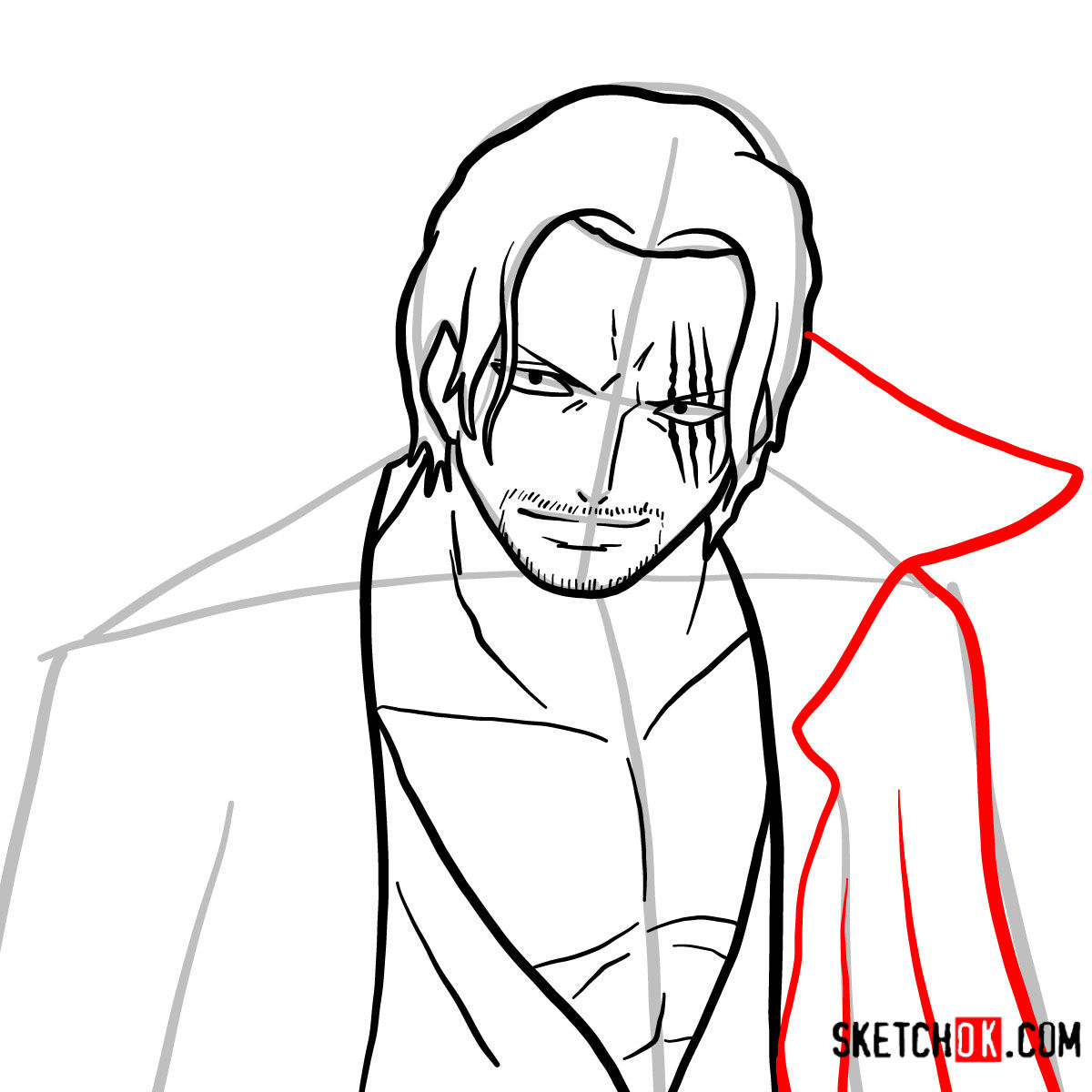 How to draw Shanks | One Piece - step 08