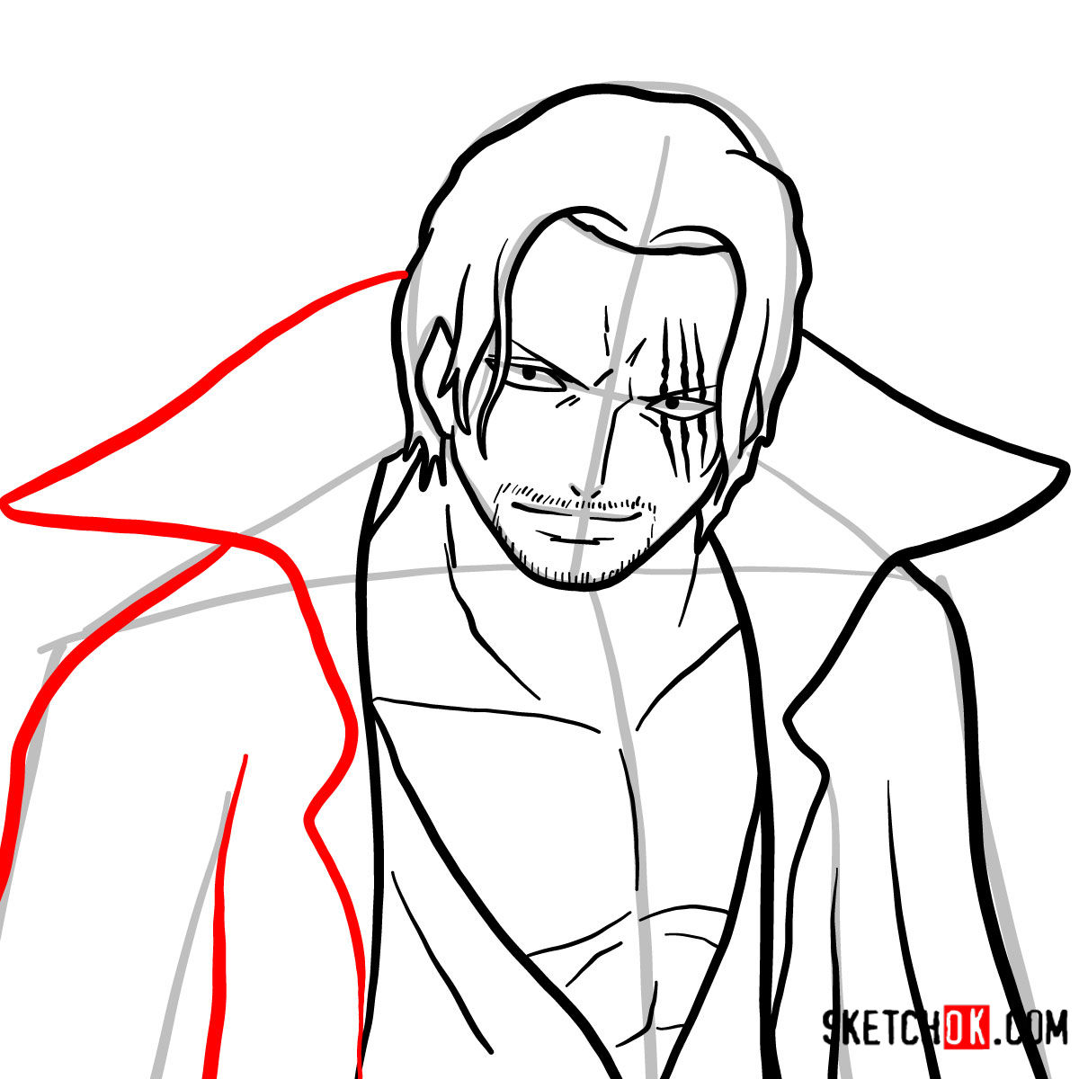 How to draw Shanks | One Piece - step 09