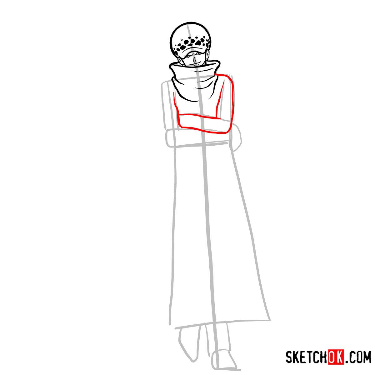 How to draw Trafalgar D. Water Law | One Piece - step 07