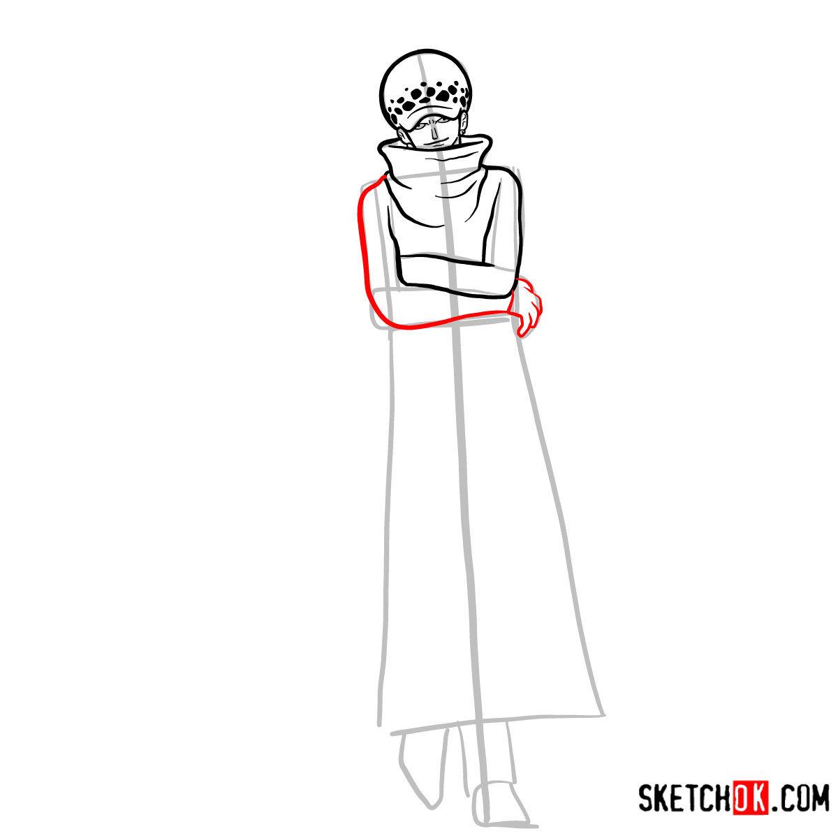 How to draw Trafalgar D. Water Law | One Piece - step 08