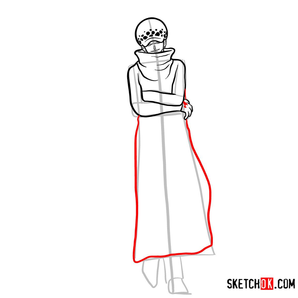 How to draw Trafalgar D. Water Law | One Piece - step 09