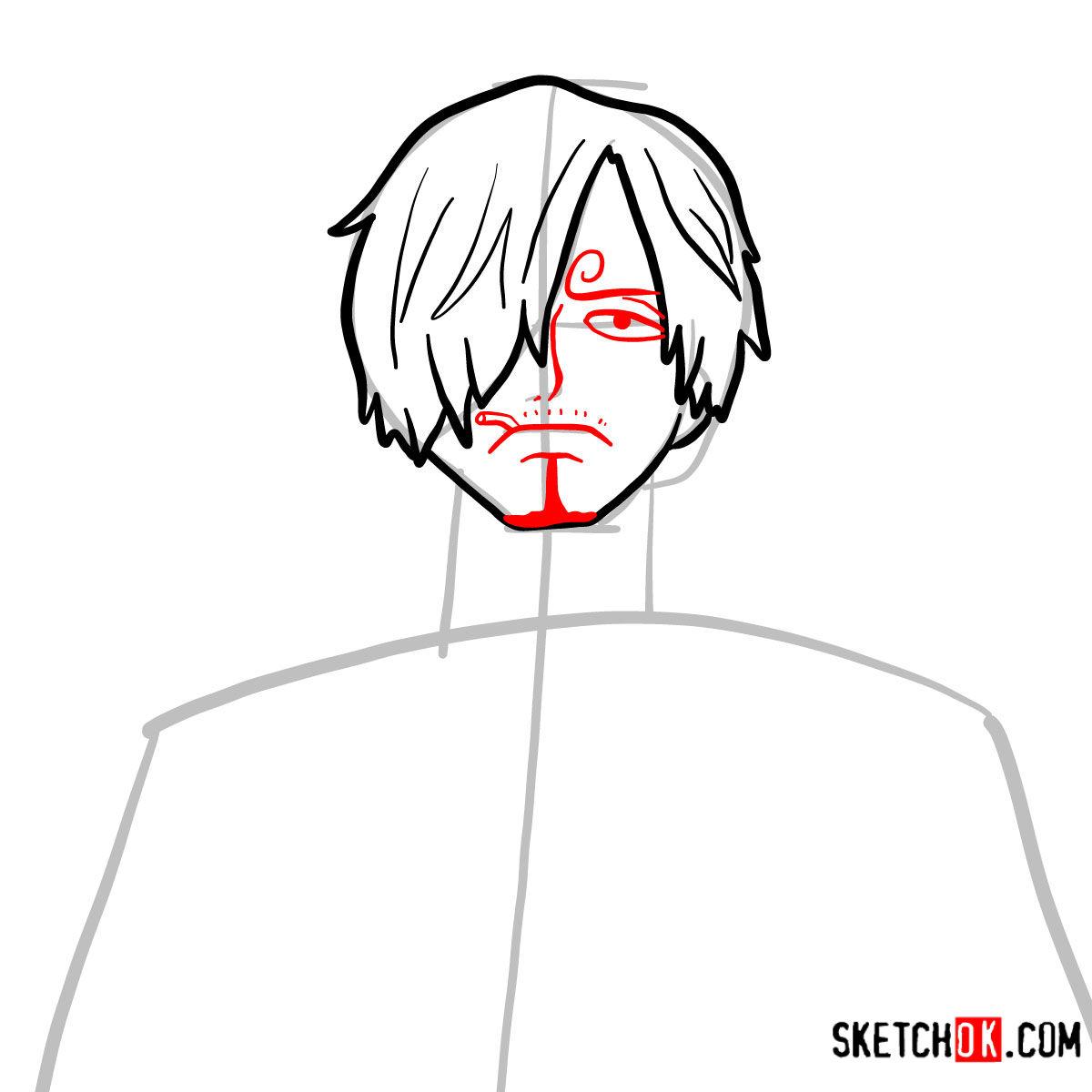 How to draw Sanji   One Piece - step 05