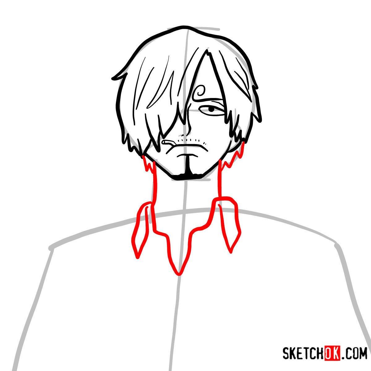 How to draw Sanji   One Piece - step 06