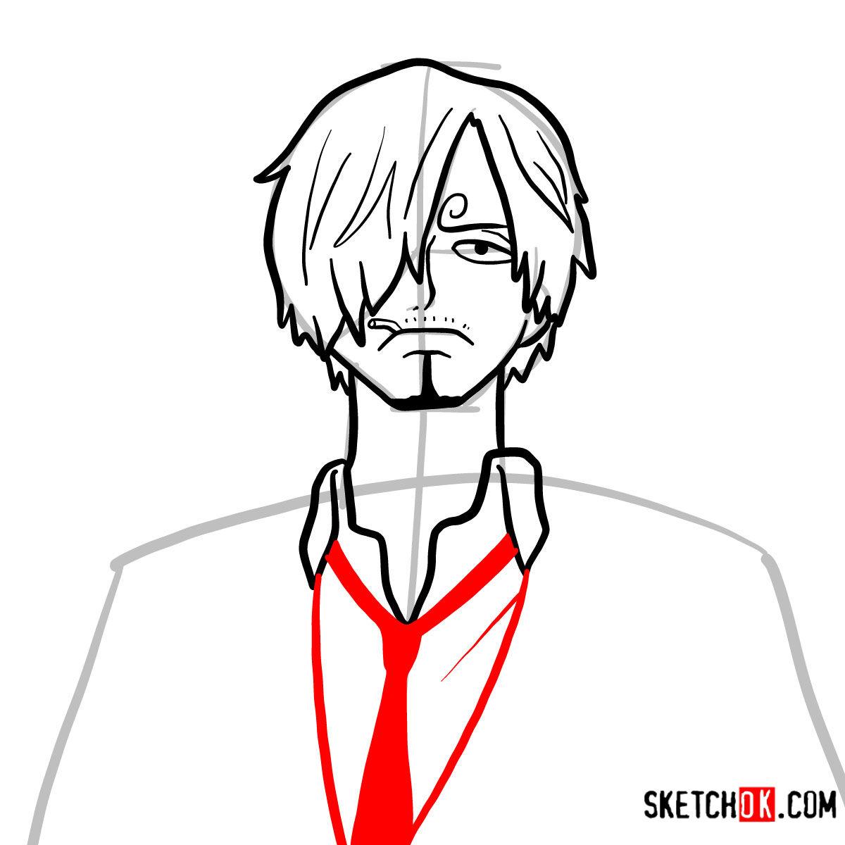 How to draw Sanji   One Piece - step 07
