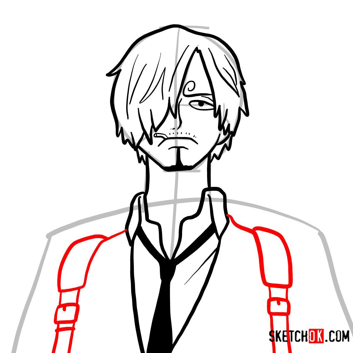 How to draw Sanji   One Piece - step 08