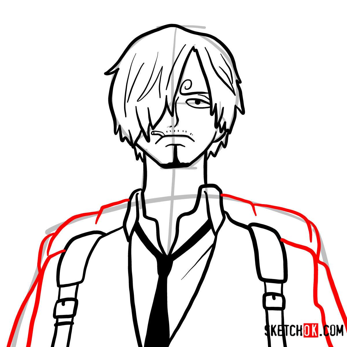 How to draw Sanji   One Piece - step 09