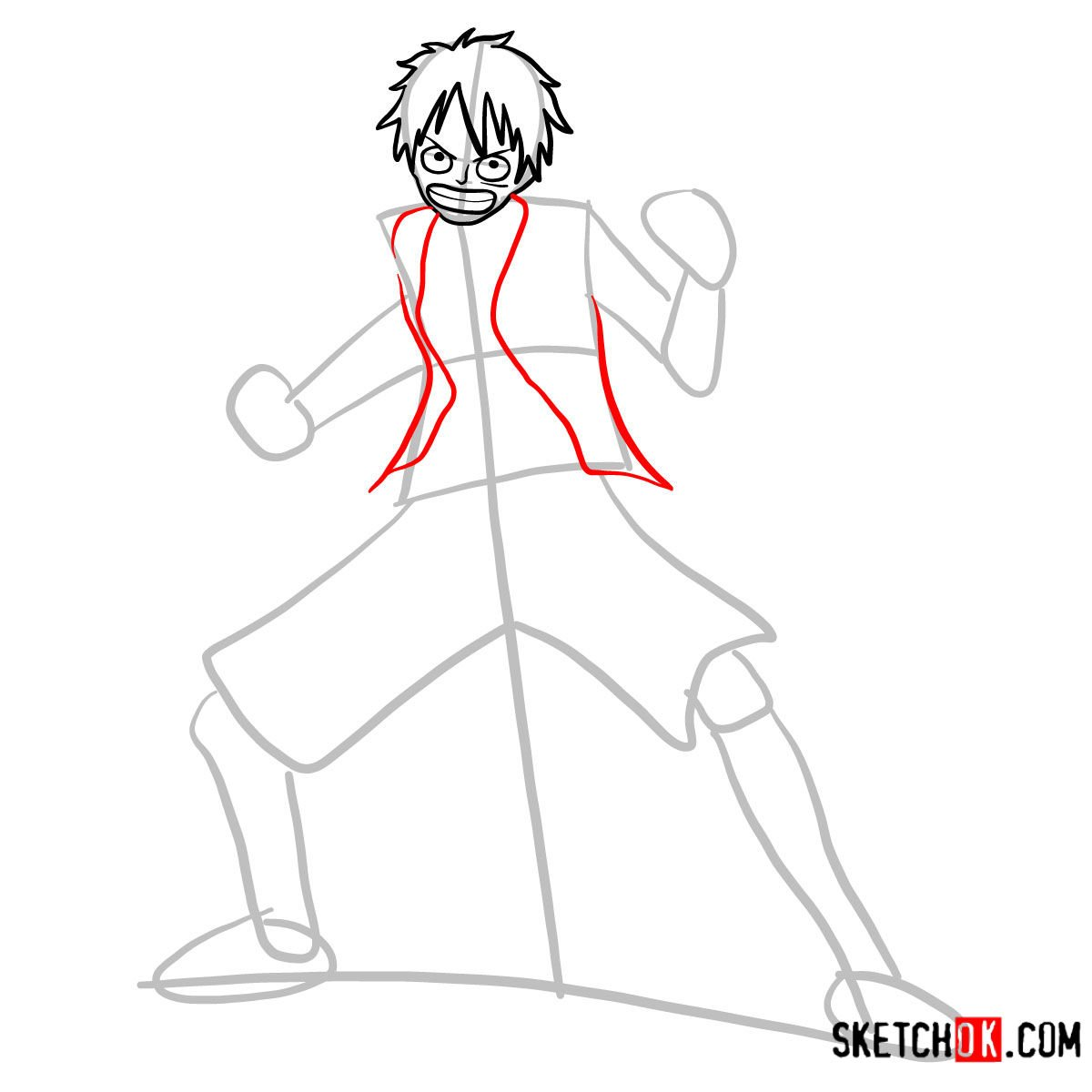 How to draw Monkey D. Luffy full growth   One Piece - step 05