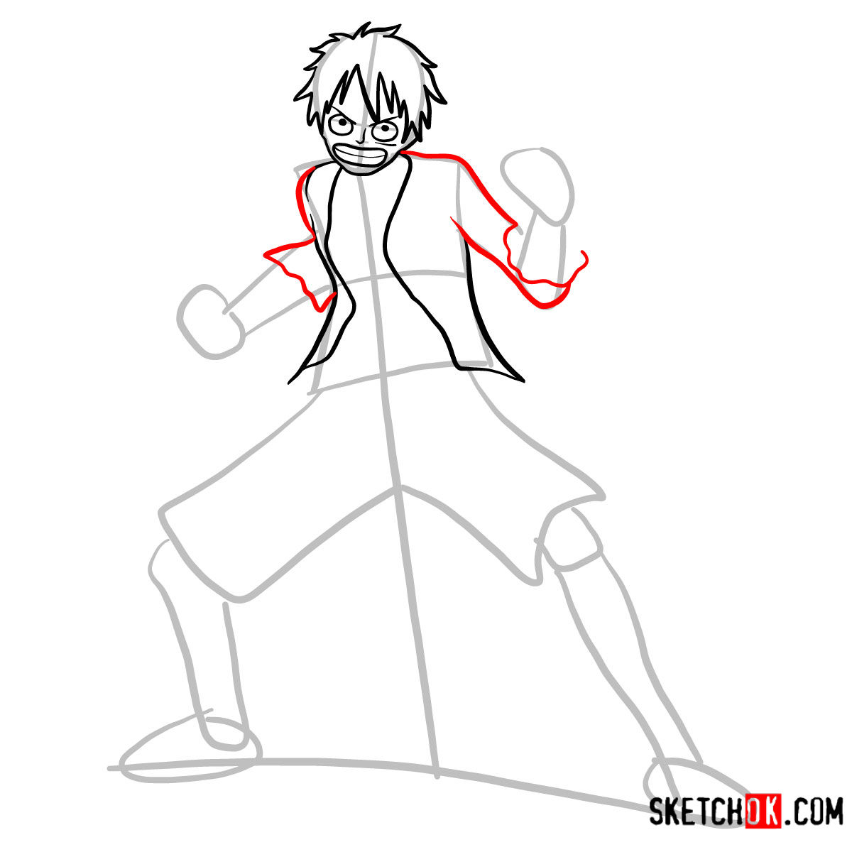 How to draw Monkey D. Luffy full growth   One Piece - step 06