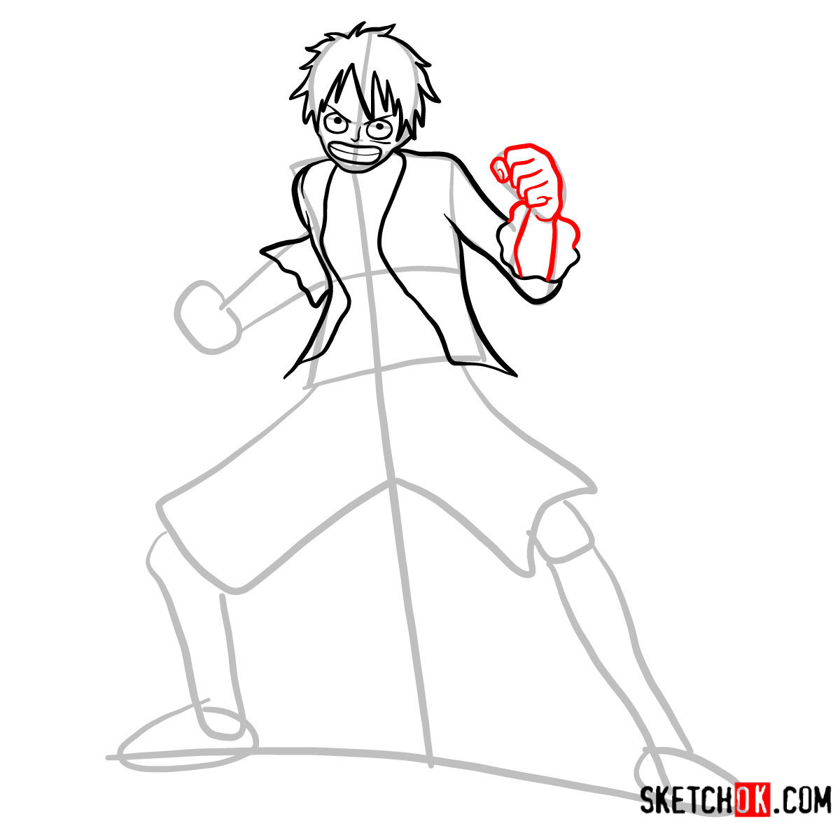 How to draw Monkey D. Luffy full growth   One Piece - step 07