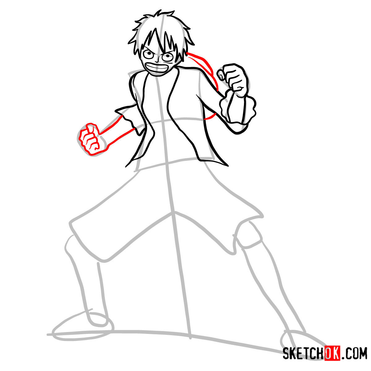 How to draw Monkey D. Luffy full growth   One Piece - step 08