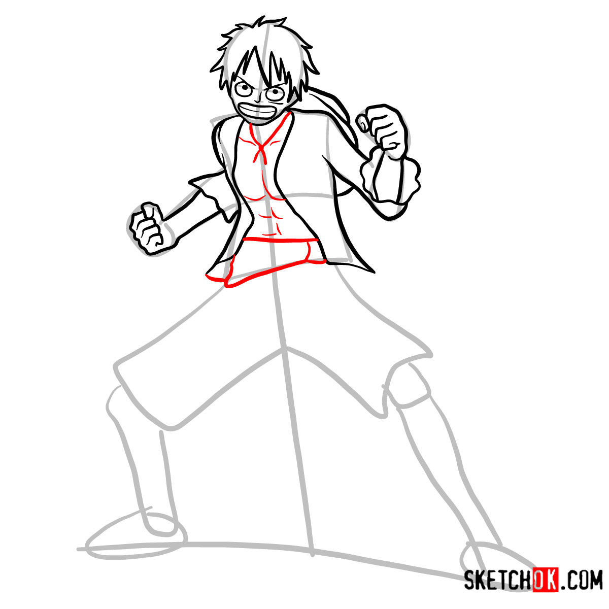 How to draw Monkey D. Luffy full growth | One Piece - step 09