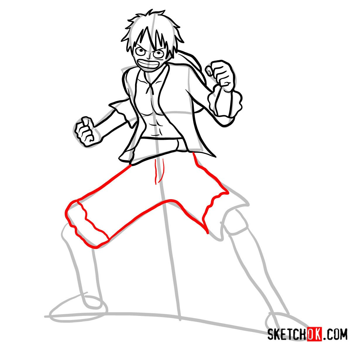 How to draw Monkey D. Luffy full growth   One Piece - step 10