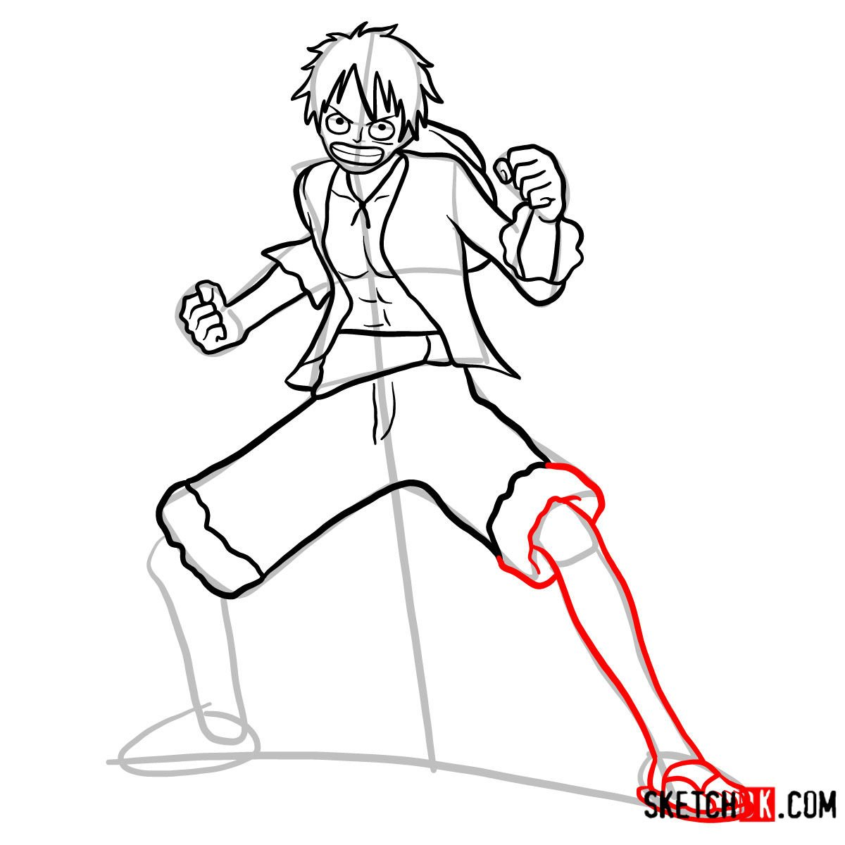 How to draw Monkey D. Luffy full growth   One Piece - step 11