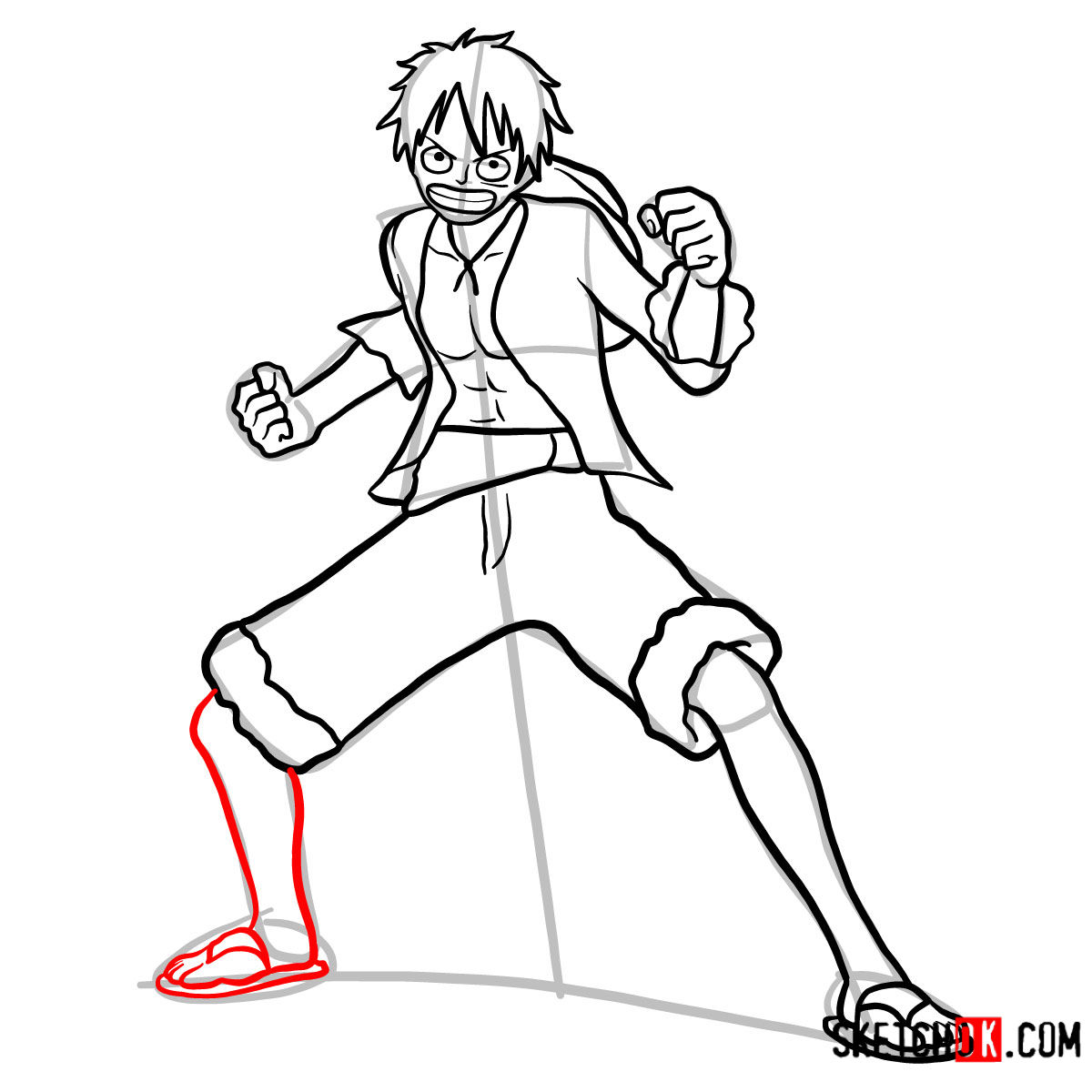 How to draw Monkey D. Luffy full growth   One Piece - step 12