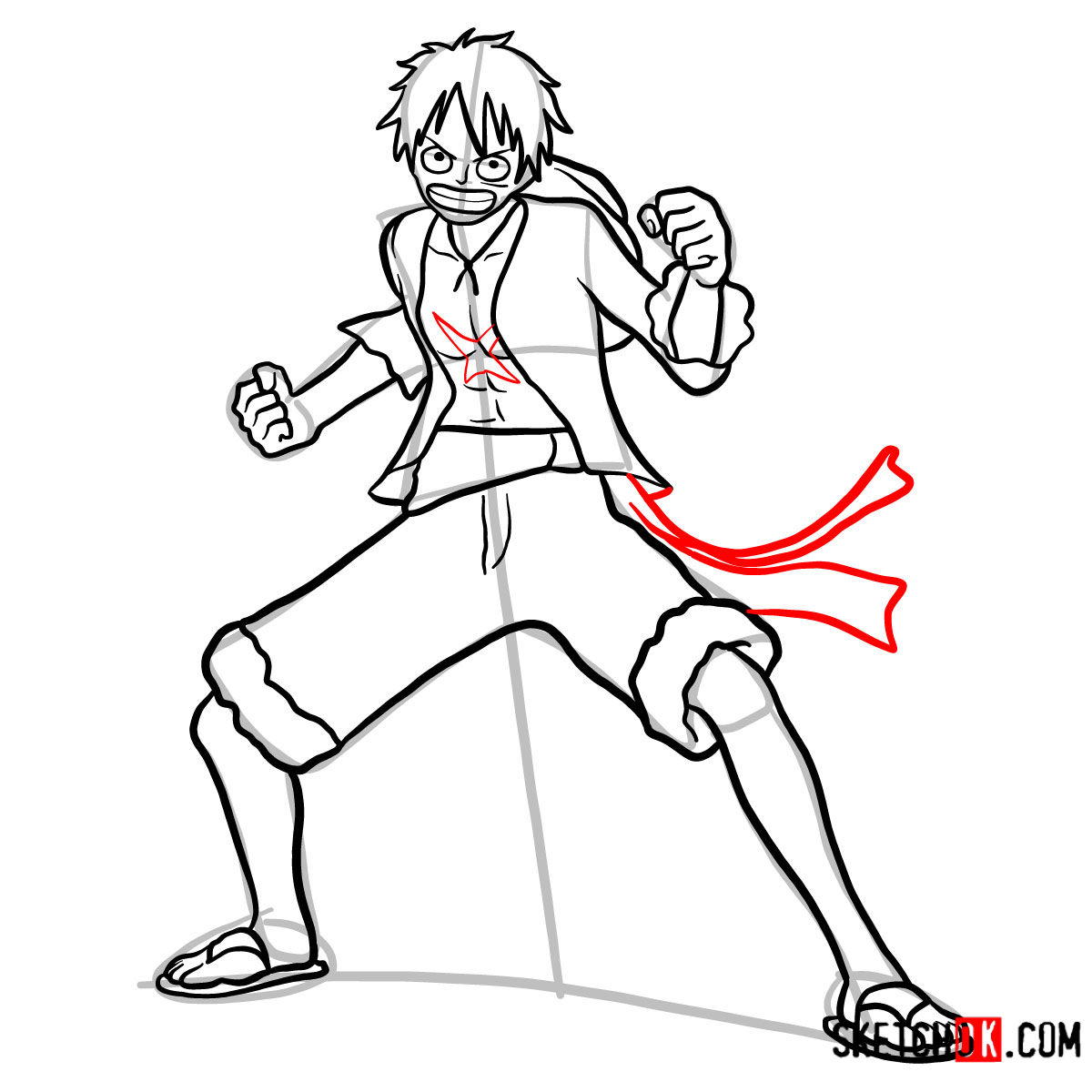 How to draw Monkey D. Luffy full growth   One Piece - step 13
