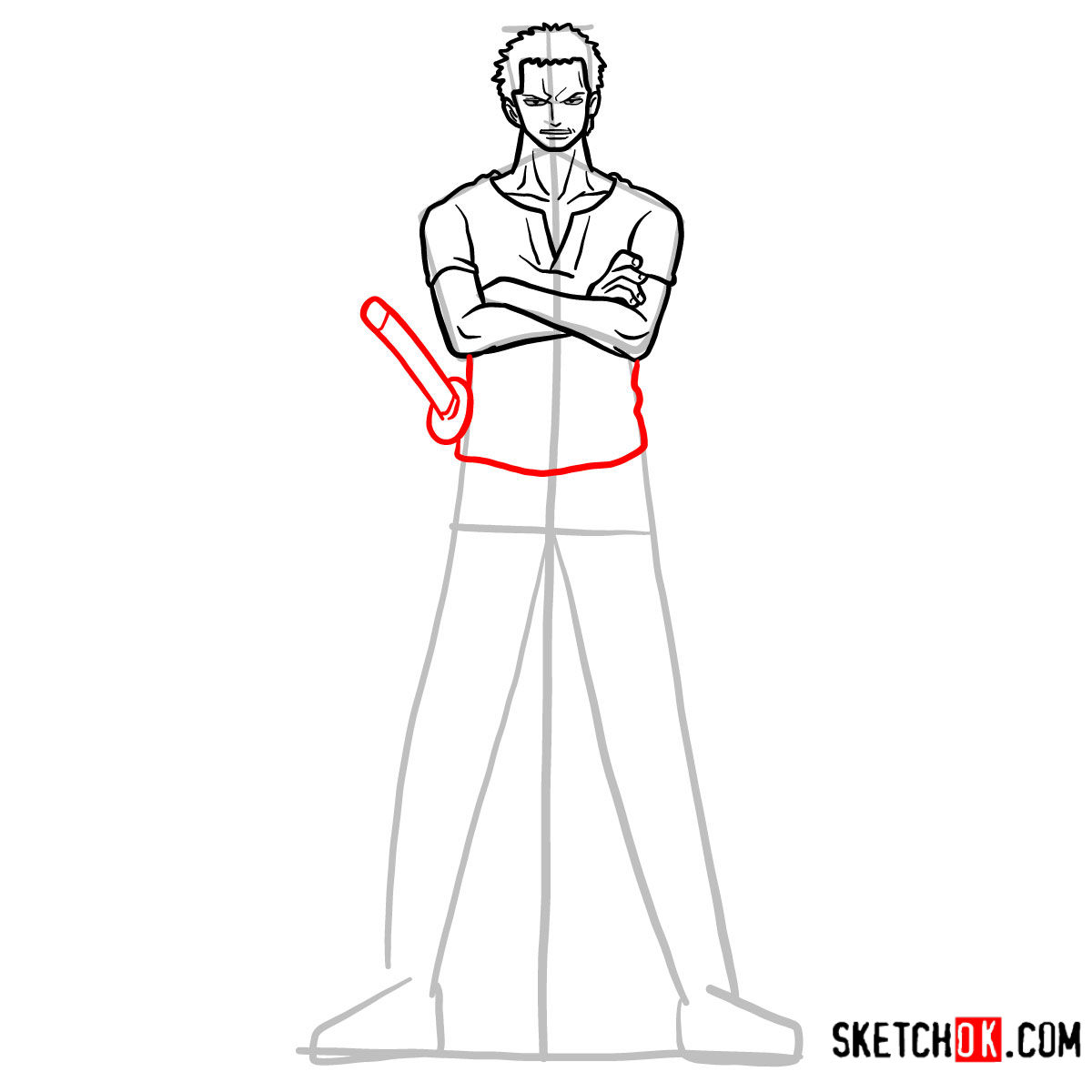 How to draw Roronoa Zoro full growth | One Piece - step 10