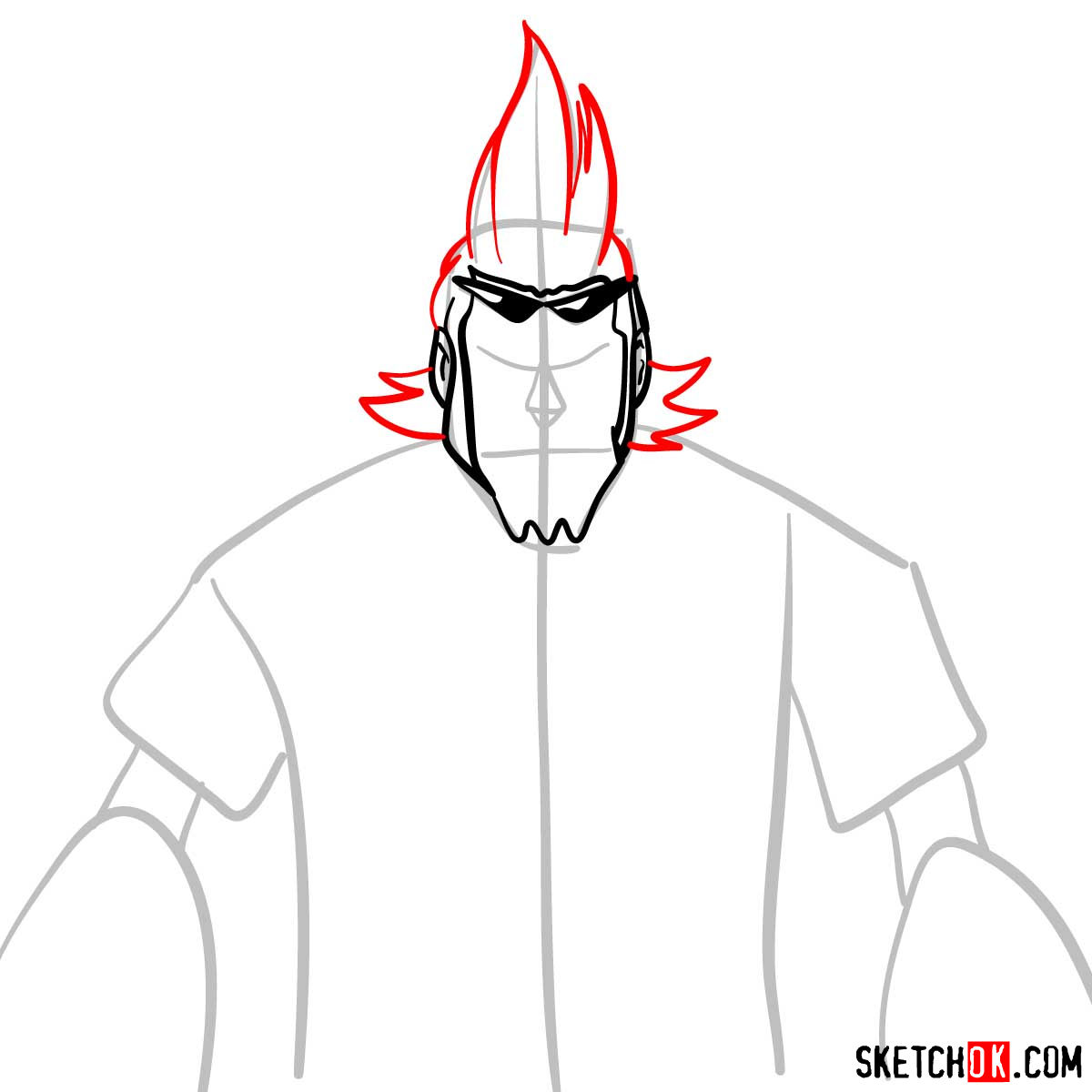 How to draw Franky from One Piece anime - step 05