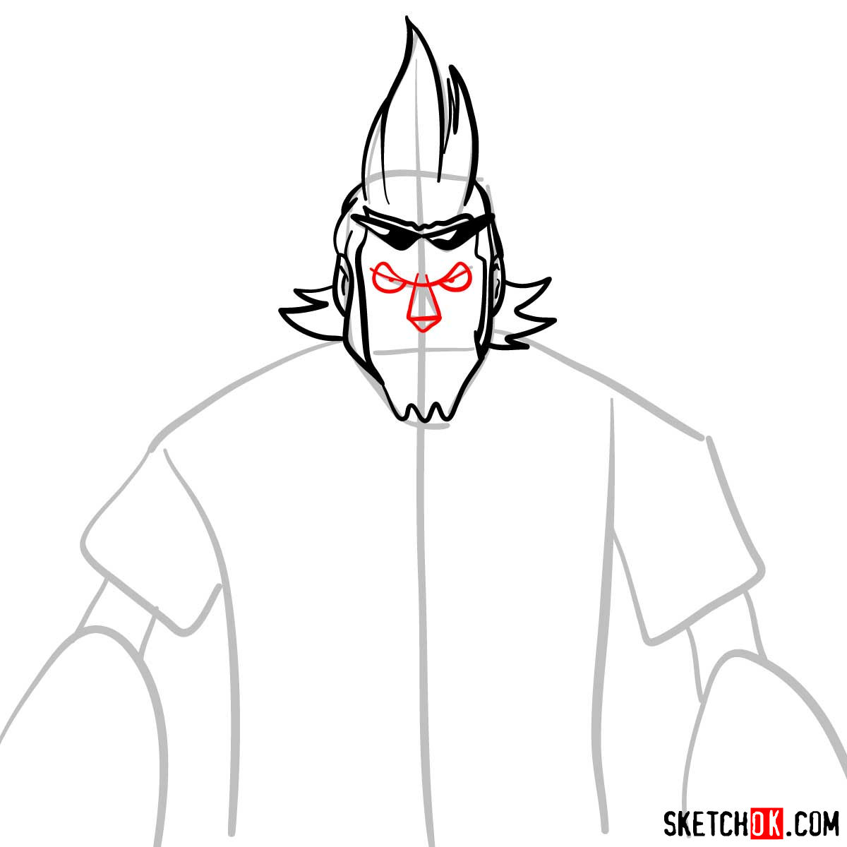 How to draw Franky from One Piece anime - step 06