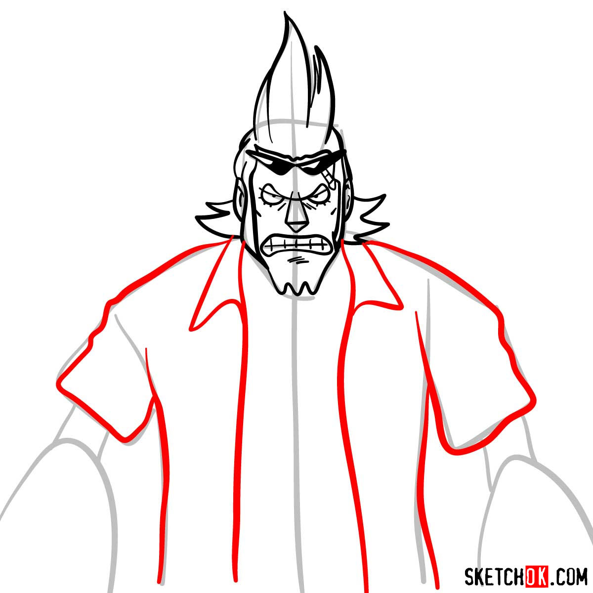 How to draw Franky from One Piece anime - step 08