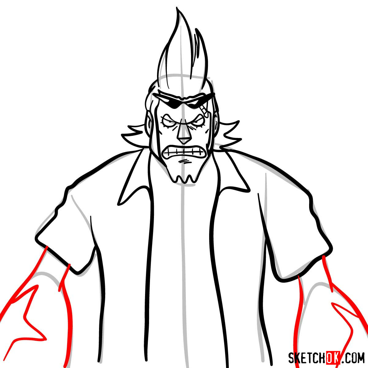 How to draw Franky from One Piece anime - step 09
